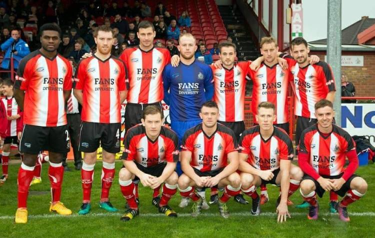 e13fbdad741 Above, Mike Ripley's image shows Altrincham before their match against  Rushall Olympic, wearing their special Fans for Diversity kit, provided by  Ian Senior ...
